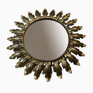 Round Belgian Brass Leaf Wall Mirror from Deknudt, 1950s