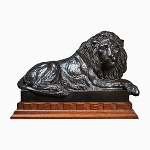 Mid-Century Terracotta Resting Lion by Carlson for P. Ibsen