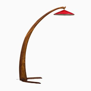 Italian Elm Arc Floor Lamp, 1960s