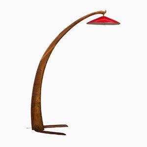 Lámpara de pie de arco italiana de olmo, años 60