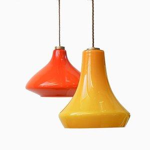 Mid-Century Deckenlampen aus Glas, 2er Set