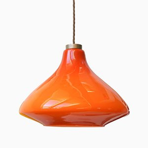 Mid-Century Red Glass Ceiling Lamp