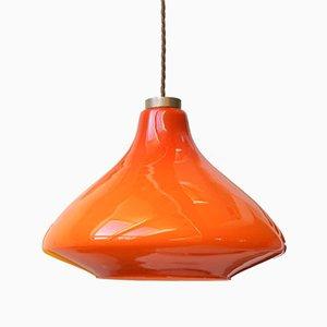 Rote Mid-Century Deckenlampe aus Glas