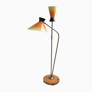 Lámpara de pie Mid-Century doble