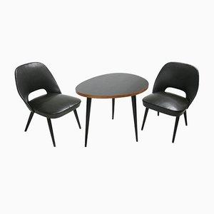 Juego de mesa y sillas italianas Mid-Century pequeño, años 50