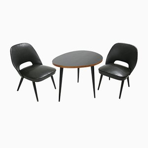 Kleines italienisches Mid-Century Set aus Couchtisch & Stühlen, 1950er