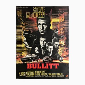 Large Vintage French Bullitt Movie Poster by Saukoff, 1968