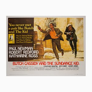 Poster del film Butch Cassidy and the Sundance Kid vintage di Tom Beauvais, 1969