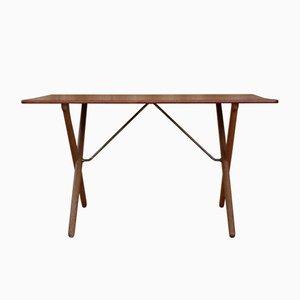 Tavolino AT308 Sawhorse in quercia e teak di Hans J. Wegner per Andreas Tuck, anni '50