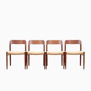Modell 75 Beistellstühle aus Teak von Niels Otto Møller für J.L. Møllers, 1950er, 4er Set