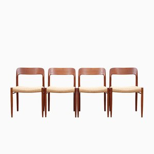 Teak Model 75 Side Chairs by Niels Otto Møller for J.L. Møllers, 1950s, Set of 4