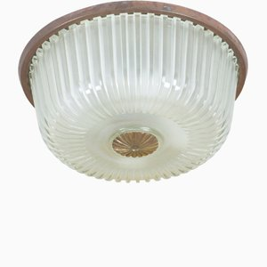 Italian Glass and Brass Flush Mount Ceiling Lamp, 1950s