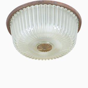 Lampada da soffitto a incasso in vetro e ottone, Italia, anni '50