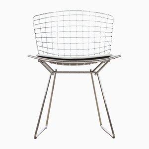 Beistellstuhl mit Sitzkissen aus weißem Leder von Harry Bertoia für Knoll Inc. / Knoll International, 1970er