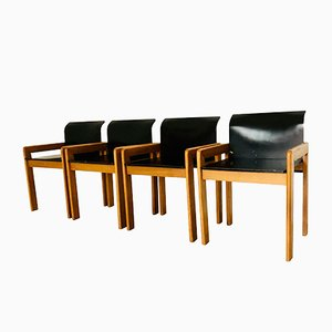 Lacquered Wood September Dining Chairs by Tobia & Afra Scarpa, 1970s, Set of 4