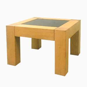 Oak and Marble Coffee Table, 1980s