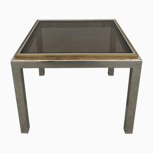 Italian Brass and Chromed Metal Coffee Table, 1970s