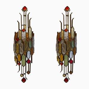 Applique in vetro martellato e ferro battuto di Longobard, Italia, anni '70, set di 2