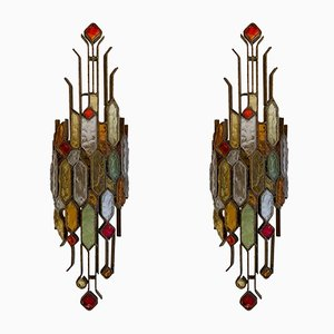 Italian Hammered Glass and Wrought Iron Sconces from Longobard, 1970s, Set of 2