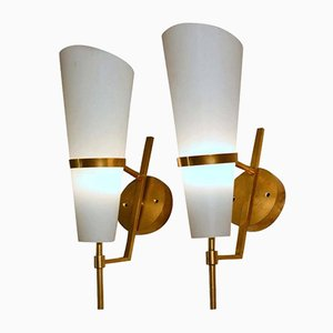 Italian Brass and Opaline Glass Torch Sconces, 1950s, Set of 2