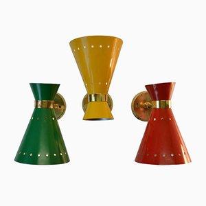Applique Diabolo Mid-Century in ottone rosso, giallo e verde, Francia, set di 3