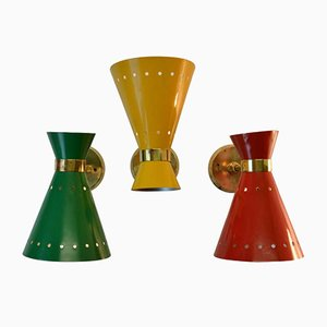 Mid-Century French Red, Yellow, and Green Brass Diabolo Sconces, Set of 3