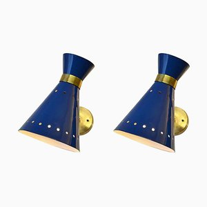 Mid-Century Blue Aluminum and Brass Diabolo Sconces, 1950s, Set of 2