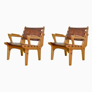Leather Model Cotacachi Lounge Chairs by Angel I. Pazmino for Muebles de Estilo, 1960s, Set of 2