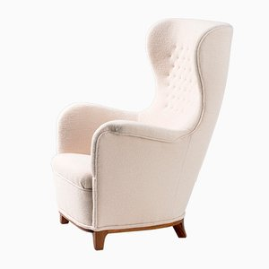 Swedish Wool Wing Chair by Carl-Axel Acking, 1940s