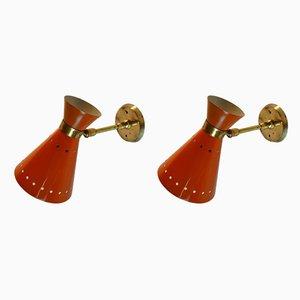 Applique Diabolo Mid-Century in alluminio arancione e ottone, anni '50, set di 2