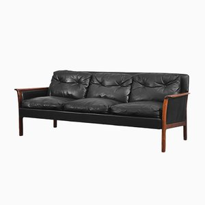 Leather & Rosewood Sofa from Bröderna Andersson, 1960s