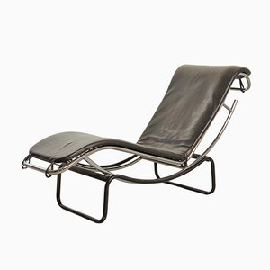 Chaise longue in similpelle e metallo cromato, Francia, anni '60