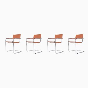 Cognac Leather Side Chairs, 1970s, Set of 4