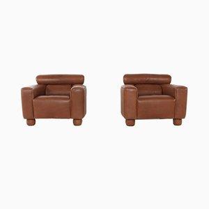 Vintage Sessel aus Büffelleder von de Sede, 2er Set