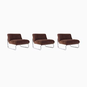 Velvet and Chrome Lounge Chairs, 1970s, Set of 3