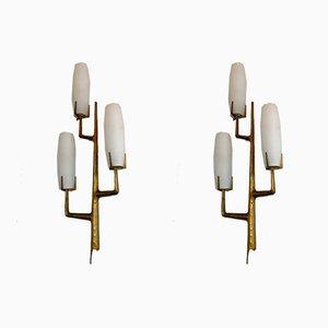 Französische Wandleuchten aus Bronze & Opalglas von Arlus, 1960er, 2er Set