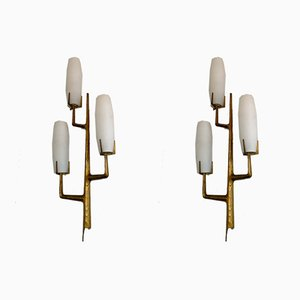 French Bronze and Opaline Glass Sconces from Arlus, 1960s, Set of 2