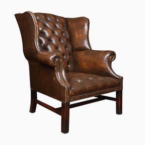 Antique Brown Leather Wingback Armchair