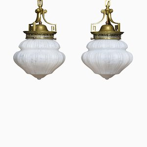 Antique Opaline Glass Ceiling Lamps, Set of 2