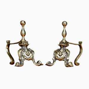 Antique Brass Fire Dogs, Set of 2
