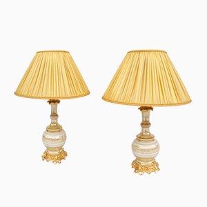 Lampes de Bureau du 19e Siècle Crème et Or en Porcelaine Irisée, Set de 2