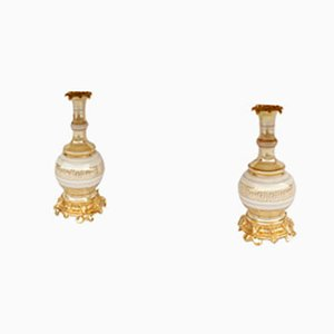19th Century Cream and Gold Iridescent Porcelain Table Lamps, Set of 2