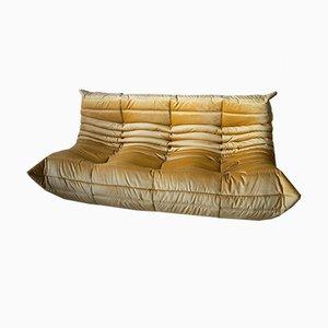 Goldenes Vintage 3-Sitzer Togo Sofa von Michel Ducaroy für Ligne Roset, 1990er