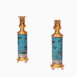 Tischlampen aus emaillierter & vergoldeter Bronze, 19. Jh., 2er Set