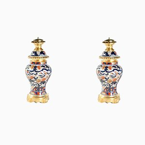 Tischlampen aus Porzellan, 19. Jh., 2er Set