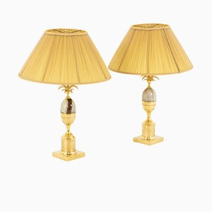 Gilt Brass and Onyx Table Lamps, 1970s, Set of 2