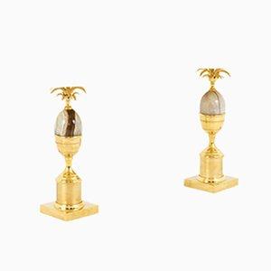 Tischlampen aus Vergoldetem Messing & Onyx, 1970er, 2er Set