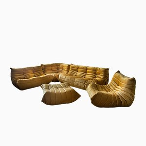 Amber Velvet Togo Living Room Set by Michel Ducaroy for Ligne Roset, 1979
