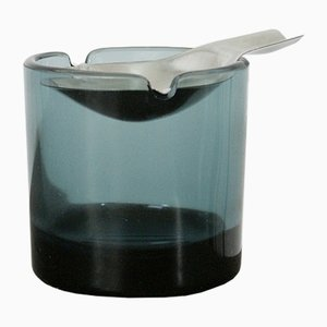 Mid-Century Tourmaline Glass Ashtray by Wilhelm Wagenfeld for WMF
