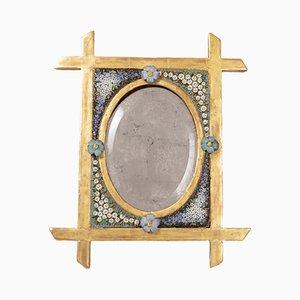 Petit Miroir de Table du 19e Siècle en Mosaïque et Bois Doré